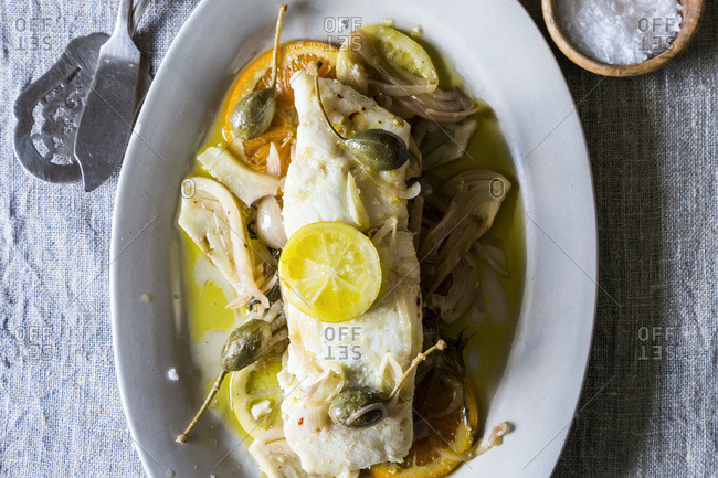 Olive oil poached halibut and fennel