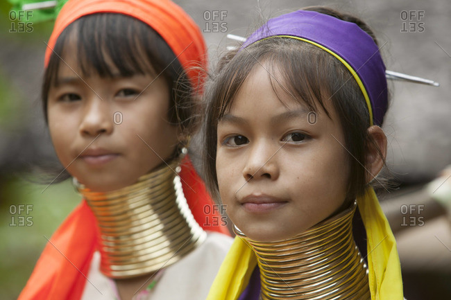 June 28, 2003: Kayan Lahwi girls with brass rings on neck, Thailand border area with Burma