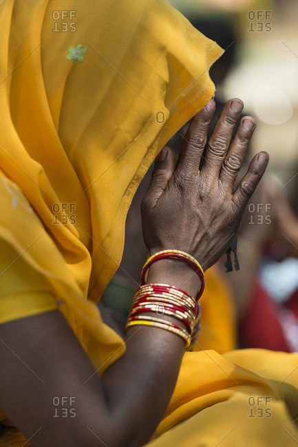 Christian woman praying in Central India