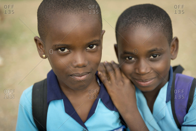 February 11, 2014: Two young students at a school outside Accra, Ghana