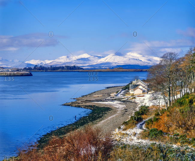 Snow covered Ben More on Mull from Connel Bridge,  North Connel, Argyll