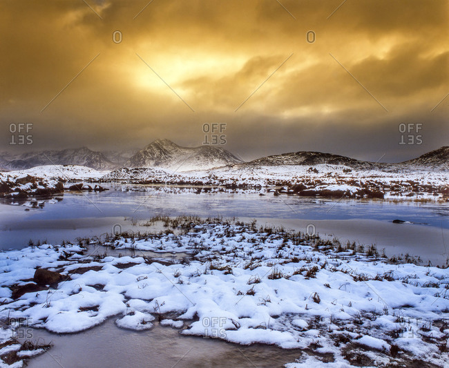 Dramatic winter scene on Rannoch Moor, West Highlands