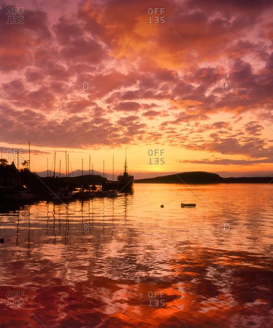 Sunset over Oban bay, 1970's, Argyll