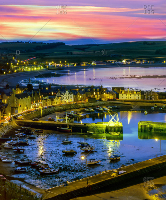 Stonehaven town and harbor at dusk, Aberdeenshire