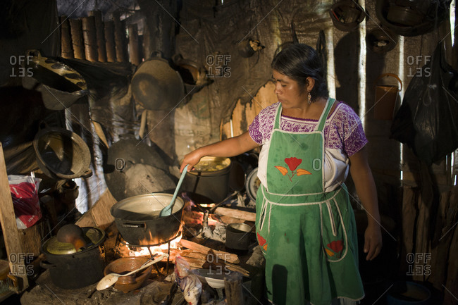 Woman cooking in rural Mexico