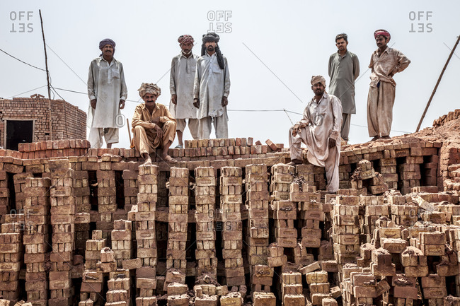 Workers at a brick factory in Punjab, Pakistan