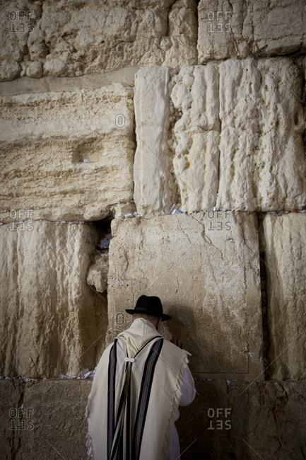 Man praying at the Western Wall, Jerusalem