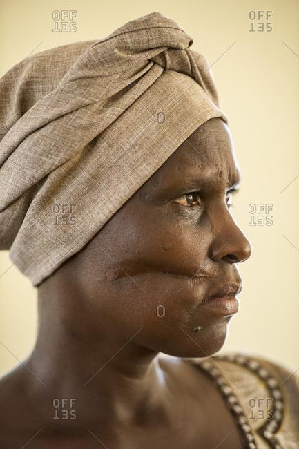 Portrait of woman, a genocide survivor in Rwanda, Africa