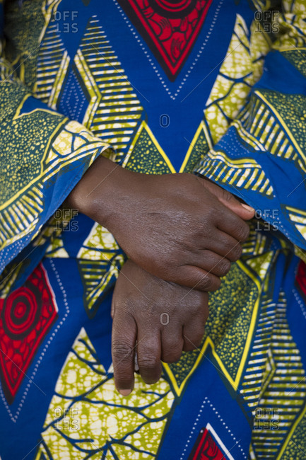 Close up of a woman's traditional African clothing in Rwanda