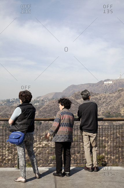 Los Angeles, California, USA - January 27, 2014: Viewing the Hollywood Sign