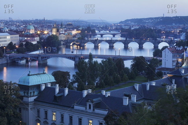 Vltava River with the bridges, Charles Bridge, and the Old Town with Old Town Bridge Tower, Prague, Bohemia, Czech Republic