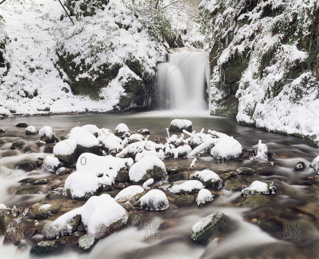 Waterfall Geroldsau in Winter, near Baden, Black Forest, Baden Wurttemberg, Germany, Europe