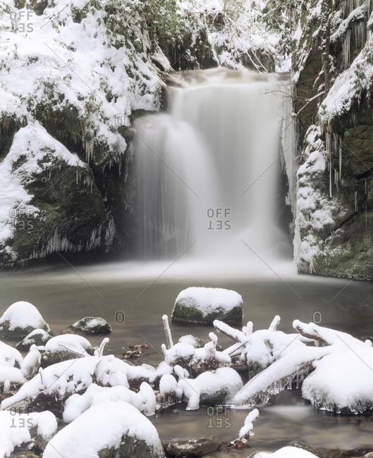 Waterfall Geroldsau in Winter, near Baden, Black Forest, Baden Wurttemberg, Germany, Europe