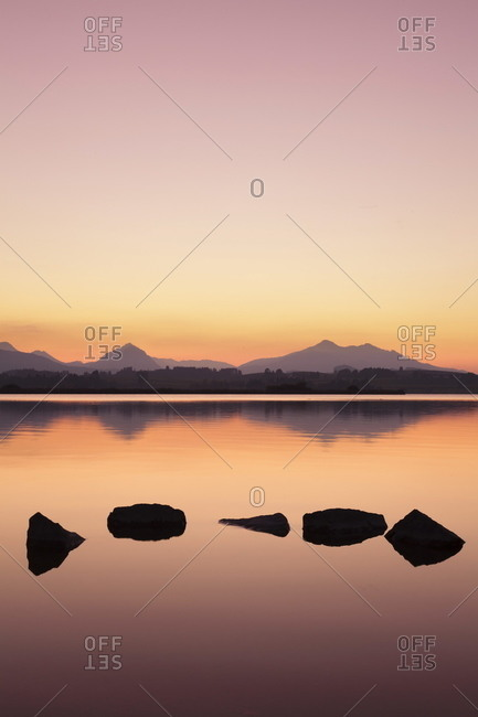 Sunset at Hopfensee Lake, near Fussen, Allgau, Allgau Alps, Bavaria, Germany, Europe