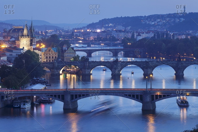 Bridges over the Vltava River including Charles Bridge, and Old Town with Old Town Bridge Tower, Prague, Bohemia, Czech Republic, Europe