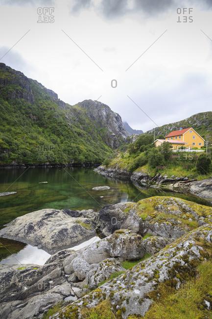 Landscape in Molnarodden near Reine, Lofoten Islands, Norway.