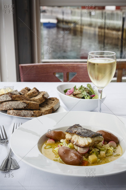 Norwegian fish dish a Restaurant, Henningsvaer, Lofoten Islands, Norway.