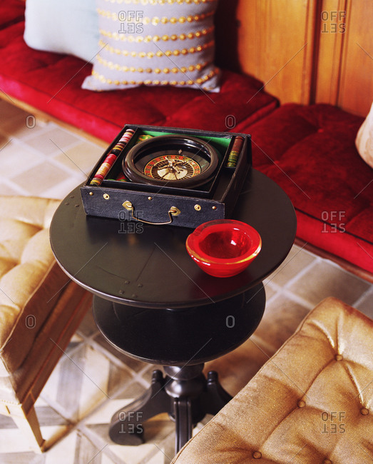 Still life of small roulette on side table