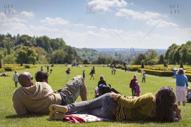 A young family enjoying a  day at Cliveden gardens, Taplow, Buckinghamshire, United Kingdom, Europe