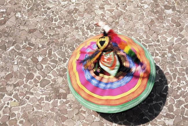 Overhead view of a Mestiza Cuzquena dancer in motion, Cuzco (Cusco), Peru, South America