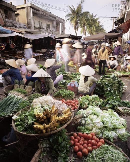 Women in conical hats selling fruit and vegetables in busy Central market, Hoi An, Central Vietnam, Vietnam, Indochina, Southeast Asia, Asia