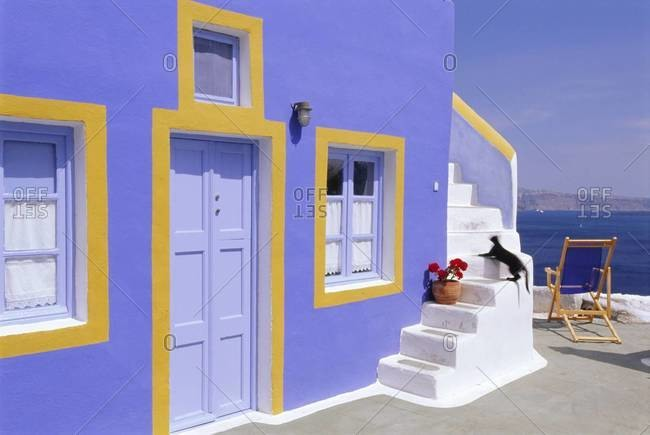 Colorful house in Thira Town, Santorini, Cyclades Islands,  Greece
