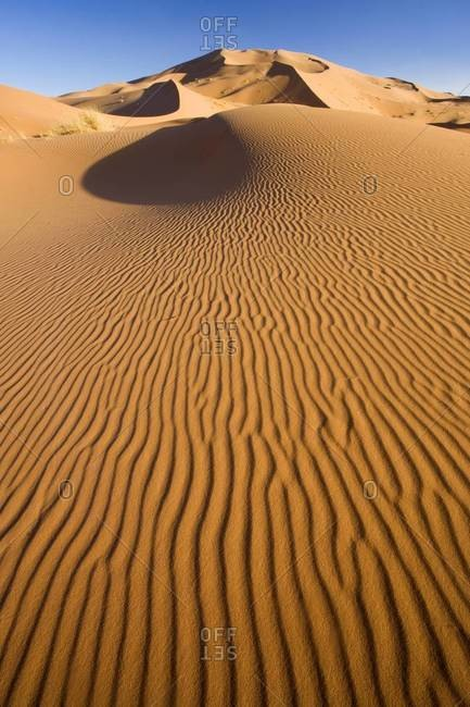 Rolling orange sand dunes and sand ripples in the Erg Chebbi sand sea near Merzouga, Morocco