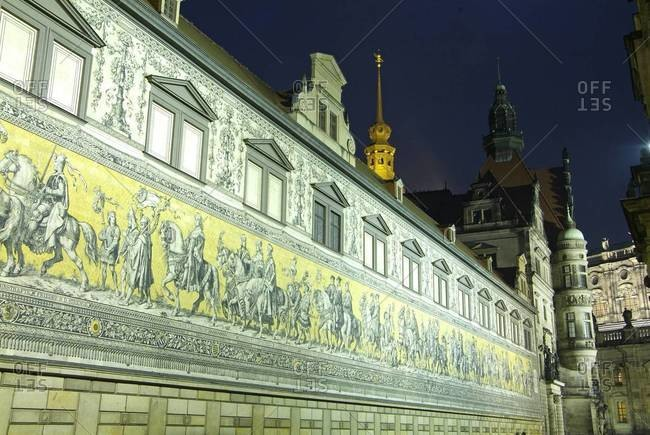 Furstenzug on the walls of Dresden Castle, Dresden, Saxony, Germany, Europe