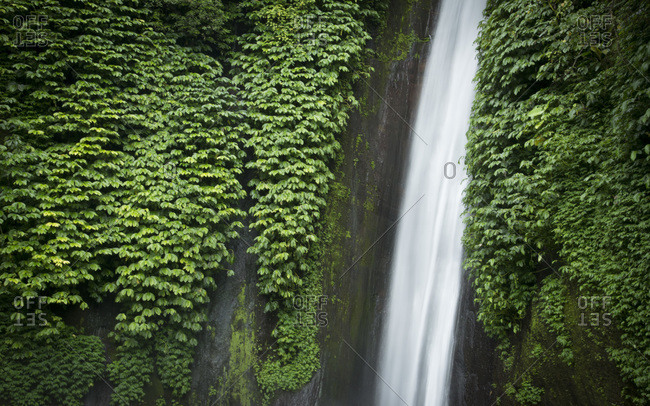A mountain waterfall in the jungle, Munduk, Bali, Indonesia
