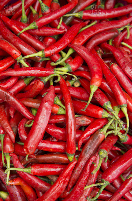 Close-up of red chili peppers, in a market in Bali, Indonesia