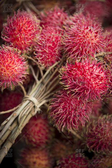 Close-up of rambutan fruit in a market in Munduk, Bali, Indonesia