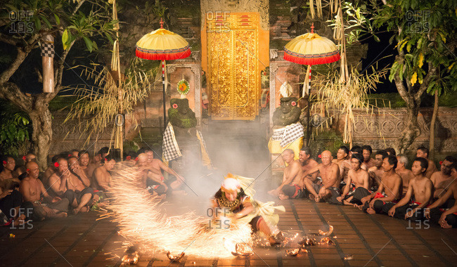 Bali, Indonesia - January 9, 2013: A fire dancer