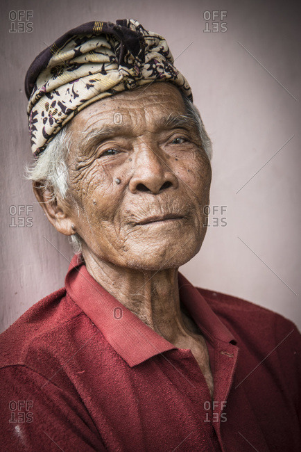 Bali, Indonesia - January 10, 2013: Portrait of an old man