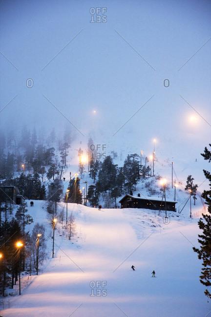 Pyha-Luosto ski resort at dusk, Finnish Lapland, Finland, Scandinavia, Europe