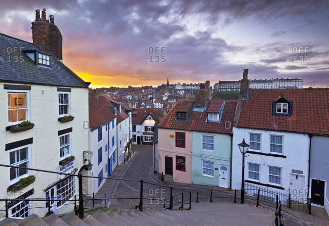 Whitby town houses at sunset from the Abbey steps, Whitby, North Yorkshire, Yorkshire, England, United Kingdom, Europe