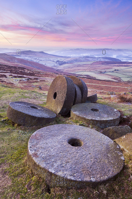 Stanage Edge wheelstones (millstones) and frosty winter moorland sunrise, Peak District National Park, Derbyshire, England, United Kingdom, Europe