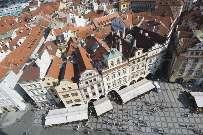 Rooftops and Cafes, Old Town Sq, Prague, Czechoslovakian Republic