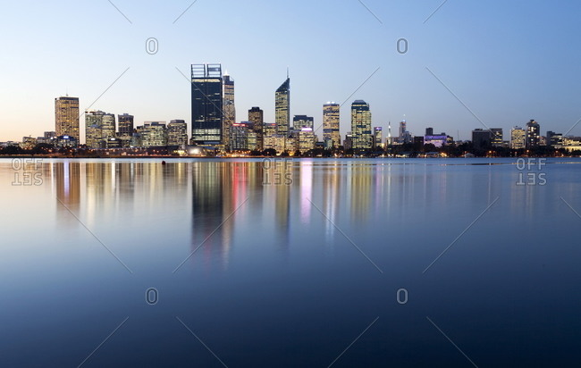 City skyline reflection on the Swan River, Perth, Western Australia, Australia, Pacific