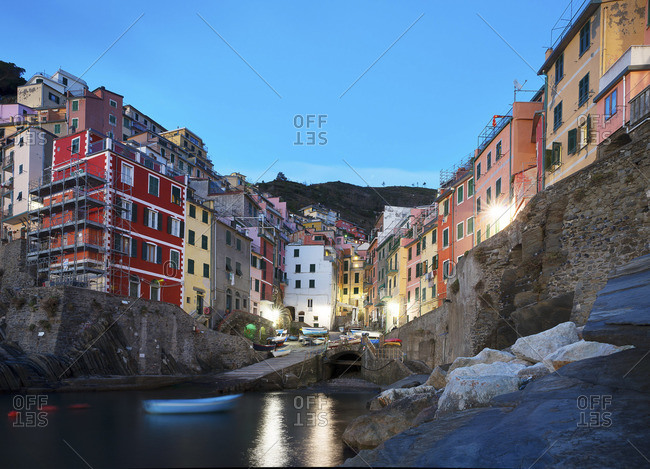 Scenic view of Riomaggiore from the sea, Cinque Terre, Italy