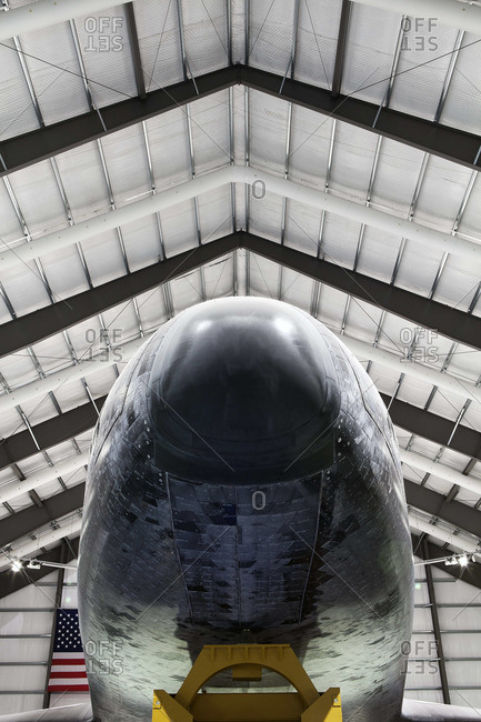 Nose of Space Shuttle in garage