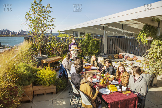 Thanksgiving on a rooftop terrace with friends