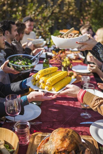 Group of friends having dinner in garden