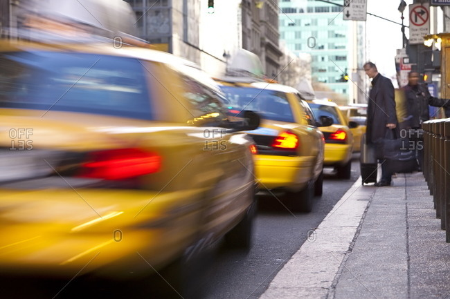 Taxi rank outside Grand Central Station, Manhattan, New York City, New York, United States of America, North America