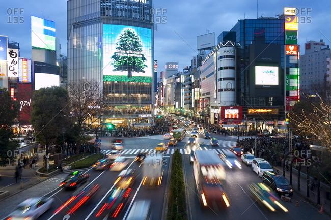 The famous Shibuya Crossing, Shibuya's fashionable shopping and entertainment district, Tokyo, Japan