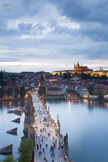 St. Vitus Cathedral, Charles Bridge, River Vltava and the Castle District in the evening, Prague, Czech Republic