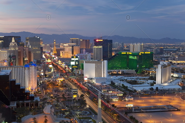 Las Vegas, Nevada, United States of America, North America - April 19, 2011: Elevated view of the hotels and casinos along the Strip at dusk.