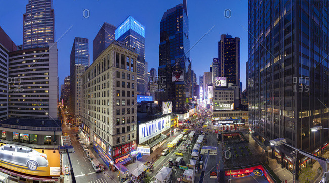 New York City, New York, United States of America, North America - October 1, 2010: Broadway looking towards Times Square, Manhattan.