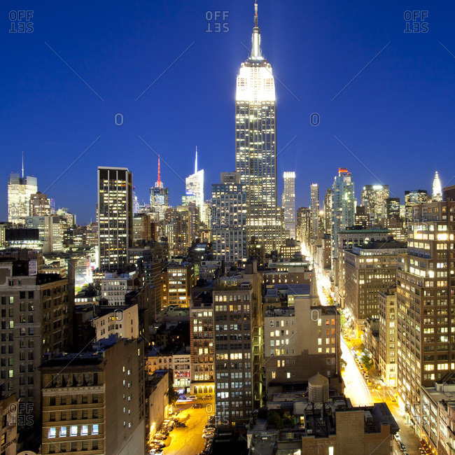 Manhattan, New York City, New York, United States of America, North America - October 1, 2010: Midtown Manhattan, elevated dusk view towards the Empire State Building.