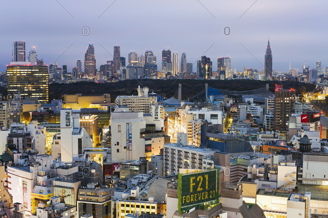 Elevated view of Shinjuku skyline viewed from Shibuya, Tokyo, Honshu, Japan, Asia