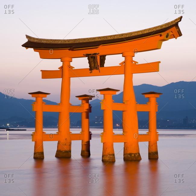 Miyajima, Honshu, Japan, Asia - April 7, 2006: Floating Torii Gate, Itsuku-shima Shrine